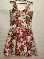 Soprano Women's M Medium Floral Stretch Dress Sleeveless  A Line knee length