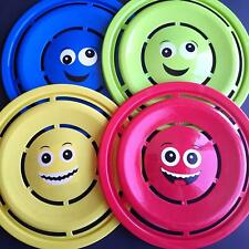 Set of Four Plastic Flying Discs Frisbee Emoji Blue Green Red Yellow 11-1/4 in
