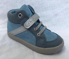 BNIB Clarks Jungle Zip Blue Metallic Leather & Canvas First Boots F/G Fitting