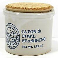 Vintage Mini Crock J.Zachary  Rollingstone Minnesota 1.25 oz. Capon & Seasoning