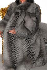 Luxueux Long Argent Platine Real Fox Fur Coat Veste Pleine Longueur XL FABULEUX!