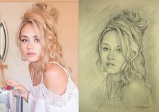 Custom Pencil  Drawing From Photographs Personalised Portrait A3, 16,5 Х 11,7in.