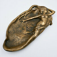 Art Nouveau Lady In Shell Bronze Tray Dish Nude Woman Antique