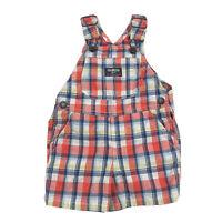 Osh Kosh B'Gosh Infant Plaid Overall Shorts Shortalls 9M Vestback Red Blue