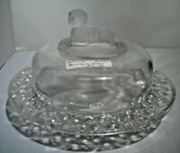 Vintage  Glass Butter/Cheese Dish with Dog on Lid dog on base