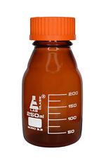 Reagent Bottle 250ml Amber Borosilicate Glass Graduated Eisco Labs