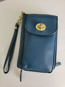 COACH Women's Leather Blue Zip Wallet Cell Phone Wristlet Wallet
