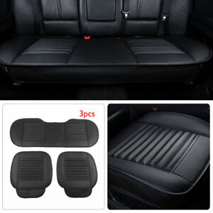 3pcs Car Front + Back Seat Cover Bamboo Charcoal Cushion Pad PU Leather Black