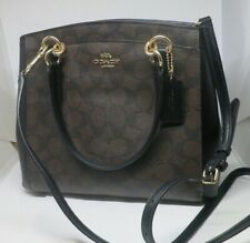 Coach F39741 Brown Black Signature Minetta Crossbody Handbag PVC Canvas Leather