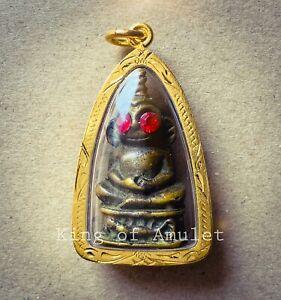 NGANG RED EYES KHMER LOVE CHARM PENDANT GOLD MICRON CASE THAI BUDDHA AMULET