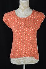 Mossimo Womens Small Coral Ivory Heart Short Sleeve Hi Low T-Shirt Top Loose Fit