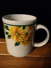 "Sunflower Stoneware Mug Cup 3 3/4"" Tall 3"" Diameter Green and Yellow Design Cute"