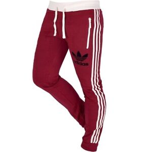 Adidas Trefoil Pant Men's Joggers Tracksuit Bottoms Retro Trousers 3S Red White