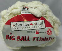 (3,25 €/100g): 200 g Pompon-Garn BIG BALL FUNNY   Fb. 01 wollweiß #2918