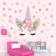 7dbd2207ce67 Cute Unicorn Flower Dot Art Wall Sticker Girls Bedroom Kids Room Decal Home  UK