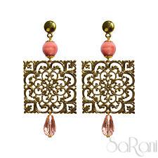 Orecchini Oro Bigiotteria Bijoux Donna Perle Rosa Pendenti Elegante Brillante
