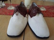 13 M Custom Made Florsheim Linen & Croc Leather Oxfords One of a Kind
