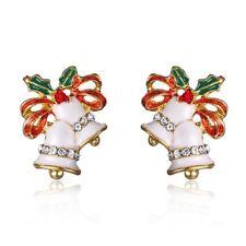 Lovely Cute Crystal Christmas Bell Bowknot Ear Stud Earrings Xmas Gift Jewelry