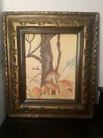 Vintage 1970s Tree Mushrooms Landscape Original Oil Pastel Framed Drawing 18 x21