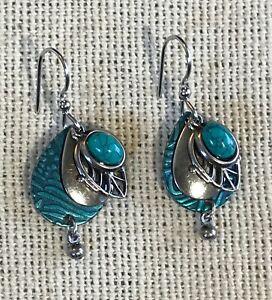 SILVER FOREST Silver Teal Tear Drop w/Filigree Earrings