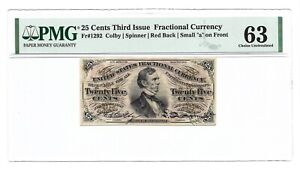 25 CENTS FRACTIONAL CURRENCY THIRD ISSUE, PMG CHOICE UNCIRCULATED 63, FR-1292