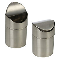 Stainless Steel 1.5L Small Recycling Bin Swing Lid Kitchen Worktop Waste Rubbish