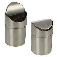 Stainless Steel 1,5 L Klein Abfalltonne Schwingdeckel Küchenarbeitsplatte