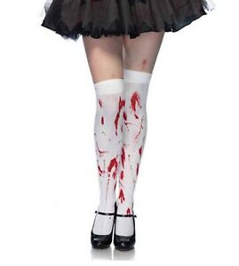 LEG AVENUE Bloody Zombie Horror Thigh Highs Socks Halloween Costume One Size