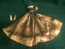Vintage Barbie Black & Gold Metallic Ball Gown & Shoes