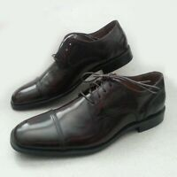 Johnston & Murphy Men Size 8.5 M Dress Cap Toe Leather Shoes Burgundy NIB