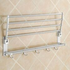 Modern Double Bath Towel Rails Holder Storage Rack Wall Mounted Bathroom Shelf