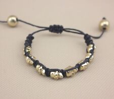 Small Black & Gold Adjustable Multi Skull Rope Tissé Bracelet Bangle Wristband