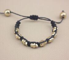 Small Black & Gold Adjustable Multi Skull Rope Woven Bracelet/Bangle/Wristband