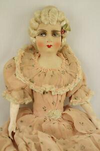 """Rare Antique French Boudoir Doll With Original Store tag """"Aux Dames De France"""""""