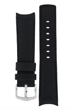 18W Hirsch MEDICI Leonardo Collection Curved Leather Watch Strap in BLACK