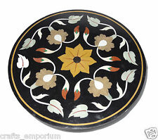 "23"" Black Marble Coffee Center Table Top Marquetry Inlay Kitchen Hallway Decor"