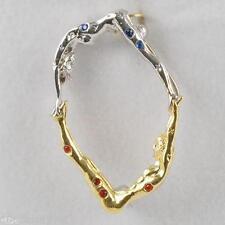 Nib Erte Alphabet Pin & Necklace Pendant Gold, Silver, Gems, Letter O - Art Deco
