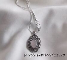 Handmade Rose Quartz Gemstone Set ~ Pewter Pendant Snake Chain Necklace 11328
