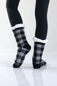 Thick Knit Buffalo Check Print Sherpa Lined Soft Slipper Socks Non Slip Skid