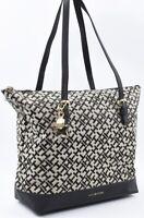 TOMMY HILFIGER Monogram Fabric Tote Bag, Handbag, Black/Khaki