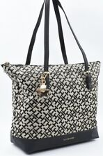 TOMMY HILFIGER Monogram Fabric Tote Bag, Handbag, Black/Khaki