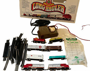 Bachmann Long Hauler Twin Locomotives and 6 cars Set Item No. 4406 Not Tested