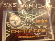 PITTSBURGH STEELERS BELIEVE IN NOW NFL 3' X 5' FLAG SUPER BOWL XLIII CHAMPIONS