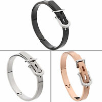 Stainless Steel Silver/Gold/Rose Gold Belt Buckle Handcuff Women Bangle Bracelet