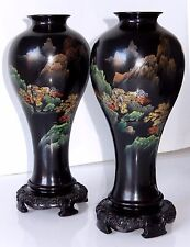 Chinese Lacquer Ware Vase PAIR Fuzhou Bodiless Hand Painted Wood Bases