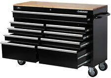 """Husky 52"""" Tool Box 9-Drawer Rolling Toolbox Storage Cabinet Wood Top Work Bench"""