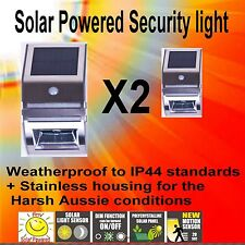 SOLAR POWERED SAFETY MOTION CENSOR LIGHT X2  STAINLESS STEEL    IP44 WATER PROOF