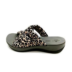 Clarks Cloudsteppers Womens Arla Dristi Jersey Slide Sandals Leopard 8W