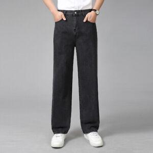 Herren Vintgae Look Jeans Gerade Denim-Hose Arbeitskleidung Regular Haltbar Hose