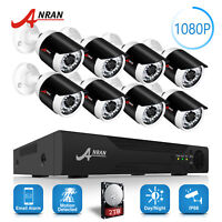 ANRAN 4CH 6CH 8CH CCTV Security Camera System 2TB HDD Outdoor DVR Home Security